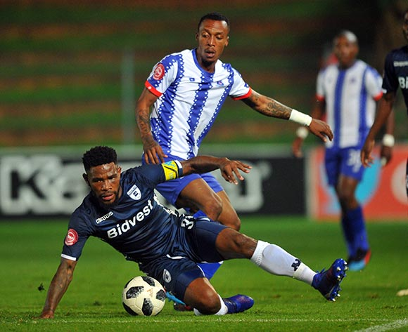 Thulani Hlatshwayo of Bidvest Wits is tackled by Yannick Zakri of Maritzburg United during the Absa Premiership match between Bidvest Wits and Maritzburg United 01 February 2019 at Bidvest Stadium  Pic Sydney Mahlangu/ BackpagePix