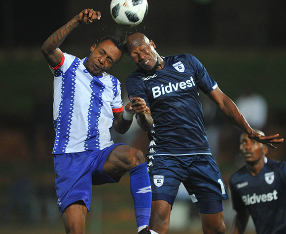 Sifiso Hlanti of Bidvest Wits challenges Yannick Zakri of Maritzburg United during the Absa Premiership match between Bidvest Wits and Maritzburg United 01 February 2019 at Bidvest Stadium  Pic Sydney Mahlangu/ BackpagePix