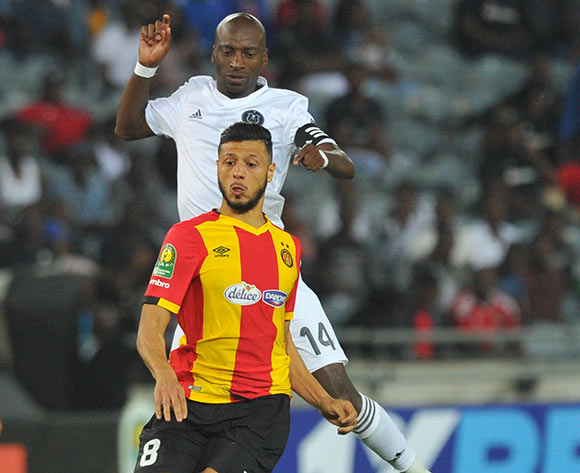 Nice Badri of Esperance challenged by Musa Nyatama of Orlando Pirates during the CAF Champions League match between Orlando Pirates and Esperance 02 February 2019 at Orlando Stadium  Pic Sydney Mahlangu/ BackpagePix