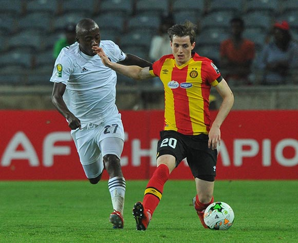 Ayman Ben Mohamed of Esperance challenged by Ben Motshwari of Orlando Pirates during the CAF Champions League match between Orlando Pirates and Esperance 02 February 2019 at Orlando Stadium  Pic Sydney Mahlangu/ BackpagePix