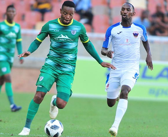 Thabiso Semenya of Baroka FC and Thabo Rakhale Chippa United during the Absa Premiership 2018/19 game between Baroka FC and Chippa United at Peter Mokaba Stadium in Polokwane the on 03 February 2019 © Kabelo Leputu/BackpagePix