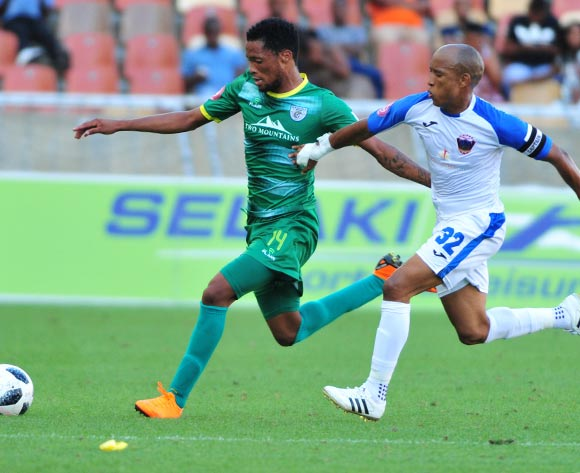 Goodman Mosele of Baroka FC and Kurt Lentjies of Chippa United during the Absa Premiership 2018/19 game between Baroka FC and Chippa United at Peter Mokaba Stadium in Polokwane the on 03 February 2019 © Kabelo Leputu/BackpagePix