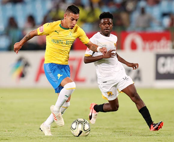 Leandro Sirino of Mamelodi Sundowns challenged by Lesedi Kapinga of Black Leopards during the Absa Premiership 2018/19 match between Mamelodi Sundowns and Black Leopards at the Loftus Versveld Stadium, Pretoria on the 06 February 2019 ©Muzi Ntombela/BackpagePix