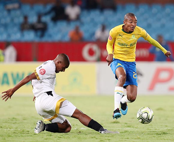Thapelo Morena of Mamelodi Sundowns tackled by Thabiso Mokoena of Black Leopards during the Absa Premiership 2018/19 match between Mamelodi Sundowns and Black Leopards at the Loftus Versveld Stadium, Pretoria on the 06 February 2019 ©Muzi Ntombela/BackpagePix