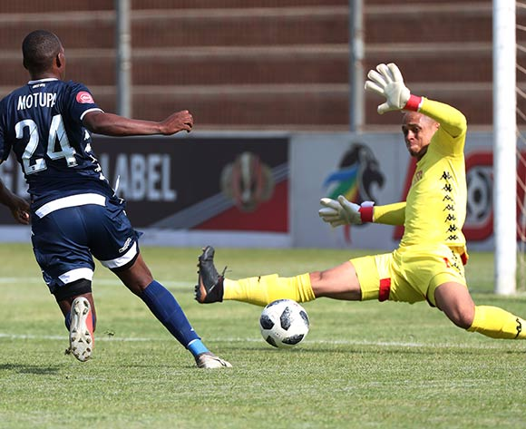 Marlon Heugh of Highlands Park saves shot from Gift Motupa during the Absa Premiership 2018/19 football match between Highlands Park and Bidvest Wits at Makhulong Stadium, Tembisa on 09 February 2019 ©Gavin Barker/BackpagePix