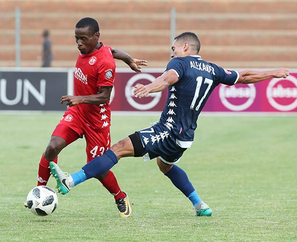 Lindokuhle Mbatha of Highlands Park fouled by Cole Alexander of Bidvest Wits during the Absa Premiership 2018/19 football match between Highlands Park and Bidvest Wits at Makhulong Stadium, Tembisa on 09 February 2019 ©Gavin Barker/BackpagePix