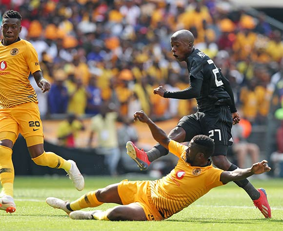 Ben Motshwari of Orlando Pirates challenged by Kgotso Moleko of Kaizer Chiefs during the Absa Premiership 2018/19 match between  Kaizer Chiefs and Orlando Pirates at the FNB Stadium, Johannesburg on the 09 February 2019 ©Muzi Ntombela/BackpagePix