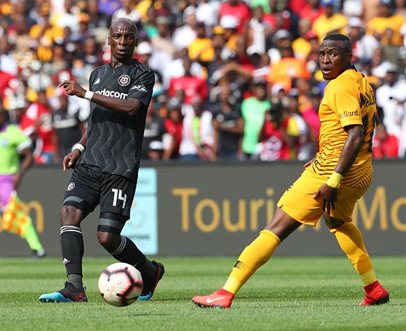 Musa Nyatama of Orlando Pirates challenged by George Maluleka of Kaizer Chiefs during the Absa Premiership 2018/19 match between Kaizer Chiefs and Orlando Pirates at FNB Stadium, Johannesburg on 9 February 2019 ©Samuel Shivambu/BackpagePix