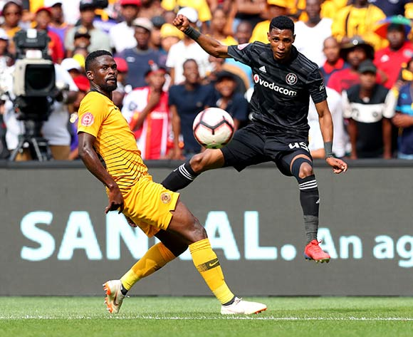 Vincent Pule of Orlando Pirates challenged by Kgotso Moleko of Kaizer Chiefs during the Absa Premiership 2018/19 match between Kaizer Chiefs and Orlando Pirates at FNB Stadium, Johannesburg on 9 February 2019 ©Samuel Shivambu/BackpagePix