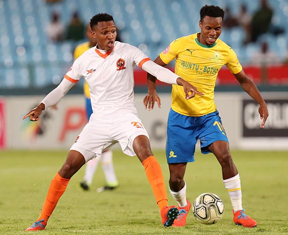 Sammy Seabi of Polokwane City challenged by Themba Zwane of Mamelodi Sundowns during the Absa Premiership 2018/19 match between Mamelodi Sundowns and Polokwane City at the Loftus Versveld Stadium, Pretoria on the 19 February 2019 ©Muzi Ntombela/BackpagePix