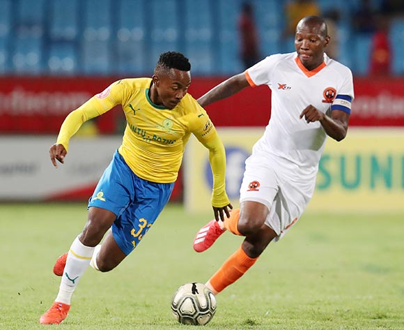 Lebohang Maboe of Mamelodi Sundowns challenged by Jabulani Maluleke of Polokwane City during the Absa Premiership 2018/19 match between Mamelodi Sundowns and Polokwane City at the Loftus Versveld Stadium, Pretoria on the 19 February 2019 ©Muzi Ntombela/BackpagePix