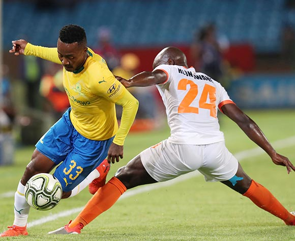 Lebohang Maboe of Mamelodi Sundowns tackled by Simphiwe Hlongwane of Polokwane City during the Absa Premiership 2018/19 match between Mamelodi Sundowns and Polokwane City at the Loftus Versveld Stadium, Pretoria on the 19 February 2019 ©Muzi Ntombela/BackpagePix