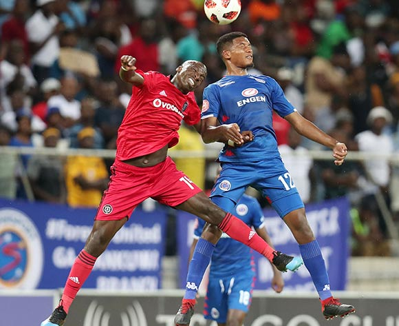 Musa Nyatama of Orlando Pirates challenged by Jamie Webber of Supersport United during the Absa Premiership 2018/19 match between Supersport United and Orlando Pirates at the Mbombela Stadium, Nelspruit on the 20 February 2019 ©Muzi Ntombela/BackpagePix