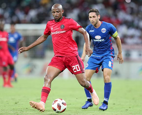 Xola Mlambo of Orlando Pirates challenged by Dean Furman of Supersport United during the Absa Premiership 2018/19 match between Supersport United and Orlando Pirates at the Mbombela Stadium, Nelspruit on the 20 February 2019 ©Muzi Ntombela/BackpagePix