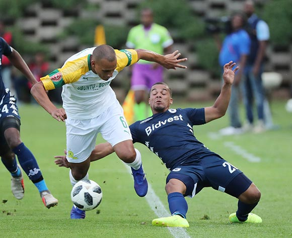Fagrie Lakay of Bidvest Wits tackles Wayne Arendse of Sundowns during the Absa Premiership 2018/19 football match between Bidvest Wits and Mamelodi Sundowns at Bidvest Stadium, Johannesburg  on 23 February 2019 ©Gavin Barker/BackpagePix