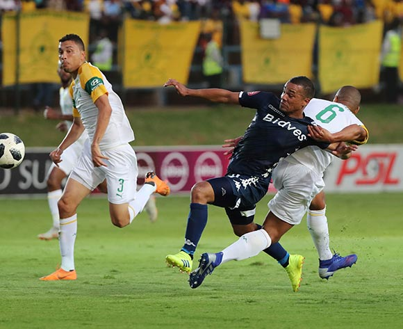 Wayne Arendse of Sundowns fouls Fagrie Lakay of Bidvest Wits and is sent off given red card during the Absa Premiership 2018/19 football match between Bidvest Wits and Mamelodi Sundowns at Bidvest Stadium, Johannesburg  on 23 February 2019 ©Gavin Barker/BackpagePix