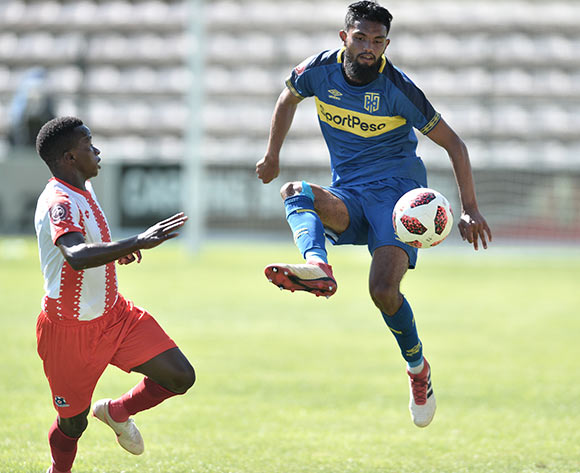 Keanu Cupido of Cape Town City and Siphesihle Ndlovu of Maritzburg Utd during the Absa Premiership 2018/19 game between Cape Town City and Maritzburg United at Athlone Stadium in Cape Town on 23 February 2019 © Luigi Bennett/BackpagePix