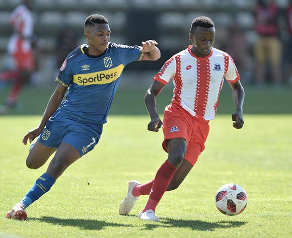 Gift Links of Cape Town City and Siphesihle Ndlovu of Maritzburg United during the Absa Premiership 2018/19 game between Cape Town City and Maritzburg United at Athlone Stadium in Cape Town on 23 February 2019 © Luigi Bennett/BackpagePix