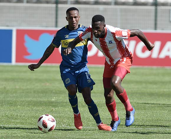 Gift Links of Cape Town City AND Fortune Makaringe of Maritzburg United during the Absa Premiership 2018/19 game between Cape Town City and Maritzburg United at Athlone Stadium in Cape Town on 23 February 2019 © Luigi Bennett/BackpagePix