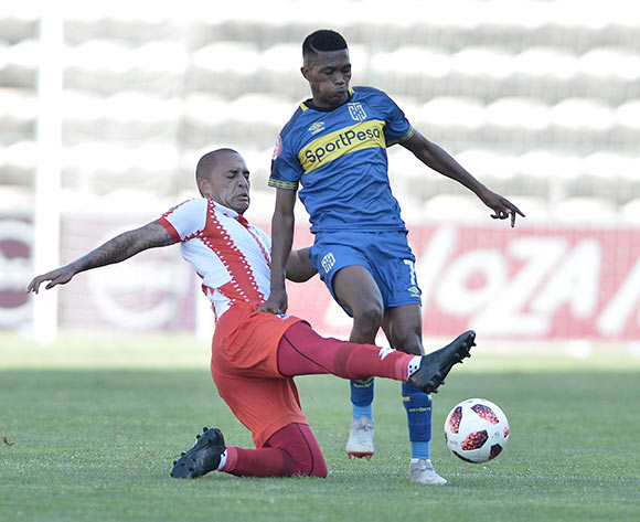 Miquel Timm of Maritzburg United tackles Gift Links of Cape Town City during the Absa Premiership 2018/19 game between Cape Town City and Maritzburg United at Athlone Stadium in Cape Town on 23 February 2019 © Luigi Bennett/BackpagePix Miquel Timm  of Maritzburg United
