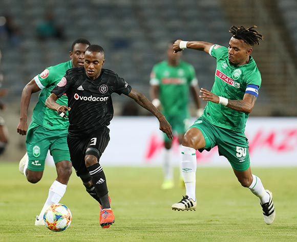 Thembinkosi Lorch of Orlando Pirates tackled by Nhlanhla Vilakazi of AmaZulu during the Absa Premiership 2018/19 match between Orlando Pirates and AmaZulu at the Orlando Stadium, Soweto on the 23 February 2019 ©Muzi Ntombela/BackpagePix