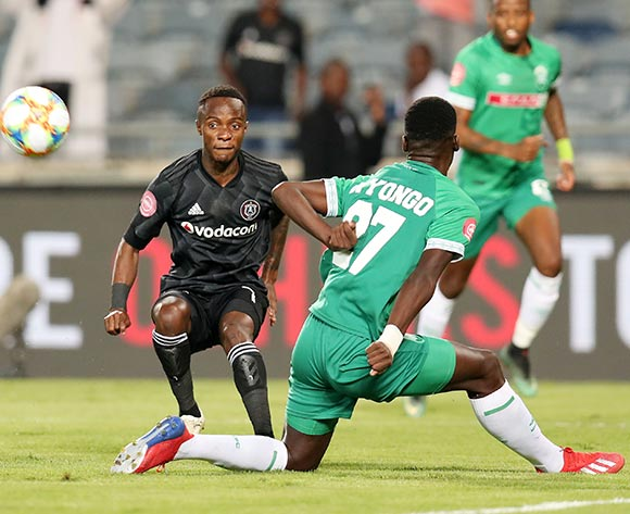 Kudakwashe Mahachi of Orlando Pirates challenged by Tapelo Nyongo of AmaZulu during the Absa Premiership 2018/19 match between Orlando Pirates and AmaZulu at the Orlando Stadium, Soweto on the 23 February 2019 ©Muzi Ntombela/BackpagePix