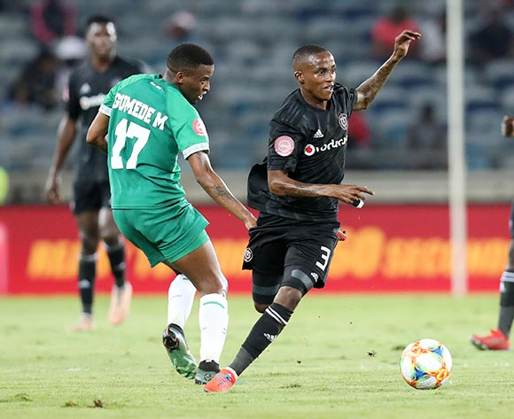 Thembinkosi Lorch of Orlando Pirates challenged by Mbongeni Gumede of AmaZulu during the Absa Premiership 2018/19 match between Orlando Pirates and AmaZulu at the Orlando Stadium, Soweto on the 23 February 2019 ©Muzi Ntombela/BackpagePix
