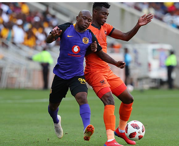 Walter Musona of Polokwane City challenged by Siphosakhe Ntiya Ntiya of Kaizer Chiefs during the Absa Premiership 2018/19 match between Polokwane City and Kaizer Chiefs at Peter Mokaba Stadium, Polokwane on 23 February 2019 ©Samuel Shivambu/BackpagePix