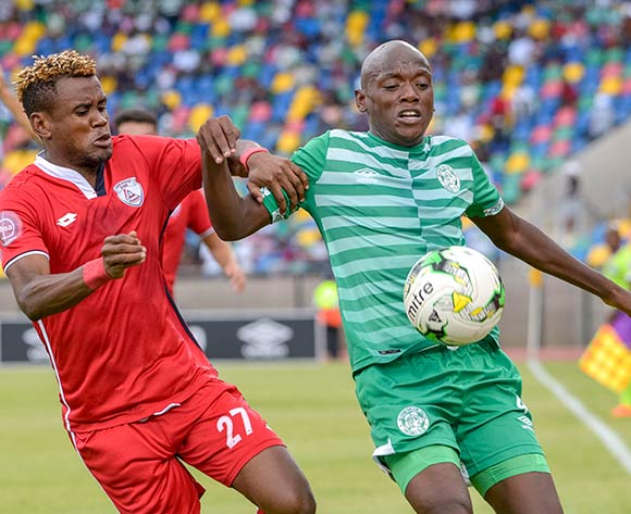 Kabelo Dlamini of Bloemfontein Celtic and Harris Tchilimbou of Free State Stars during the Absa Premiership 2018/19 game between Bloemfontein Celtic and Free State Stars at Dr Molemela  Stadium in Bloemfontein on 24 February 2019 © Frikkie Kapp/BackpagePix