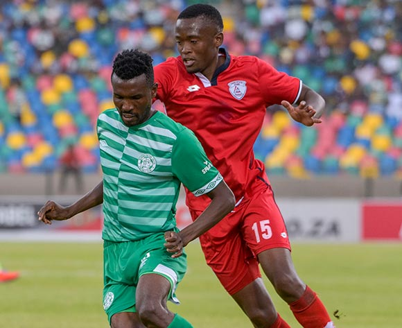 Lucky Baloyi of Bloemfontein Celtic and Katlego Mokhuoane of Free State Stars during the Absa Premiership 2018/19 game between Bloemfontein Celtic and Free State Stars at Dr Molemela  Stadium in Bloemfontein on 24 February 2019 © Frikkie Kapp/BackpagePix