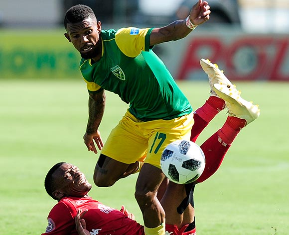 Mothobi Mvala, Captain of Highlands Park challenges Wayde Jooste of Lamontville Golden Arrows during Absa Premiership 2018/19 game between Golden Arrows and Highlands Park at Sugar Ray Xulu Stadium, KwaZulu-Natal on 2 February 2019 © Gerhard Duraan/BackpagePix