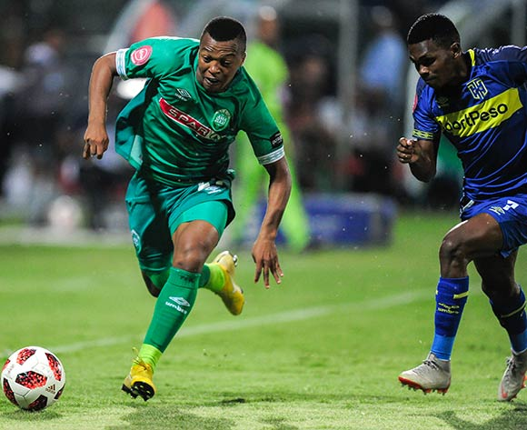 Gift Links of Cape Town City FC chases hard to catch Thembela Sikhakhane of AmaZulu FC during the Absa Premiership 2018/19 game between AmaZulu FC and Cape Town City FC at King Zwelithini Stadium in Durban the on 09 February 2019 © Gerhard Duraan/BackpagePix