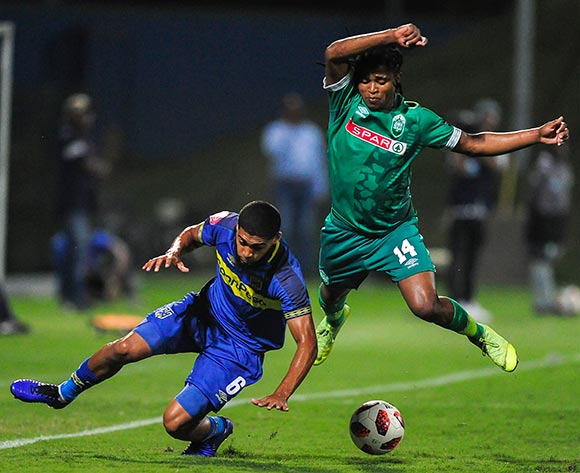 Ebrahim Seedat of Cape Town City FC challenges Siyethemba Sithebe of AmaZulu FC and send both flying during the Absa Premiership 2018/19 game between AmaZulu FC and Cape Town City FC at King Zwelithini Stadium in Durban the on 09 February 2019 © Gerhard Duraan/BackpagePix