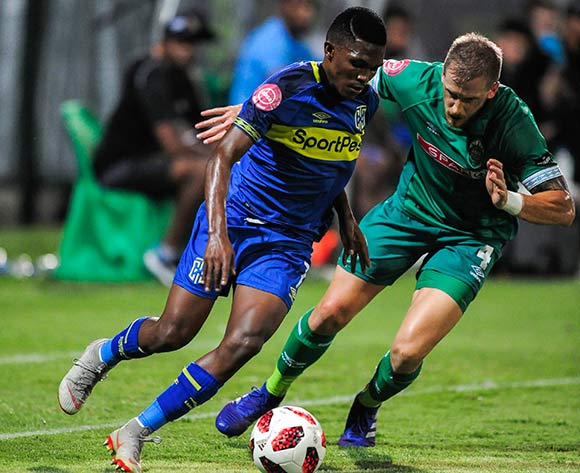 Michael Morton of AmaZulu FC challenges Gift Links of Cape Town City FC during the Absa Premiership 2018/19 game between AmaZulu FC and Cape Town City FC at King Zwelithini Stadium in Durban the on 09 February 2019 © Gerhard Duraan/BackpagePix