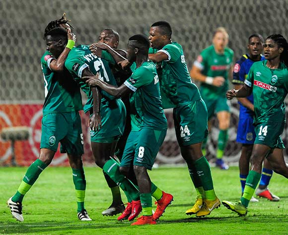 Celebrations as Tapelo Nyongo of AmaZulu FC shoots a goal for his team during the Absa Premiership 2018/19 game between AmaZulu FC and Cape Town City FC at King Zwelithini Stadium in Durban the on 09 February 2019 © Gerhard Duraan/BackpagePix