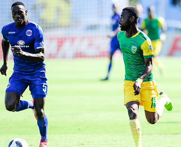 Knox Mutizwa of Lamontville Golden Arrows is challenged by Billy Mutale of Supersport United during the Absa Premiership 2018/19 game between Golden Arrows and SuperSport United at Sugar Ray Xulu Stadium in Durban the on 10 February 2019 © Gerhard Duraan/BackpagePix