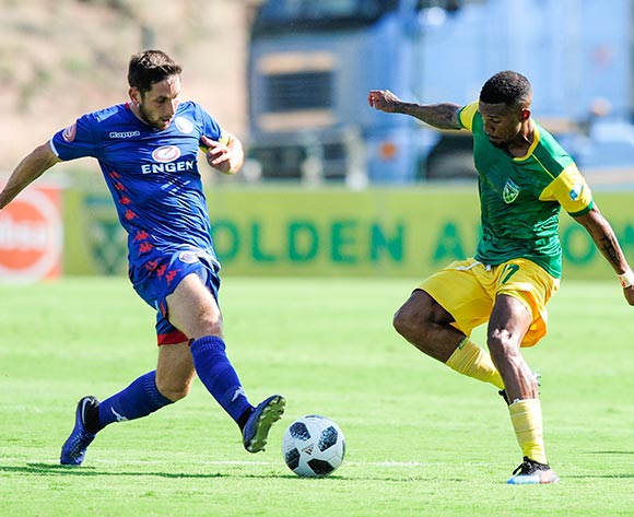 Wayde Jooste of Lamontville Golden Arrows challenges Dean Furman, Captain of Supersport United during the Absa Premiership 2018/19 game between Golden Arrows and SuperSport United at Sugar Ray Xulu Stadium in Durban the on 10 February 2019 © Gerhard Duraan/BackpagePix