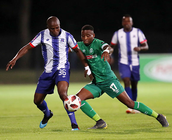 Mxolisi Kunene of Maritzburg United challenged by Mbongeni Gumede of AmaZulu during the Absa Premiership 2018/19 match between Maritzburg United and AmaZulu at the Harry Gwala Stadium, Pietermaritzburg on the 01 March 2019 ©Muzi Ntombela/BackpagePix