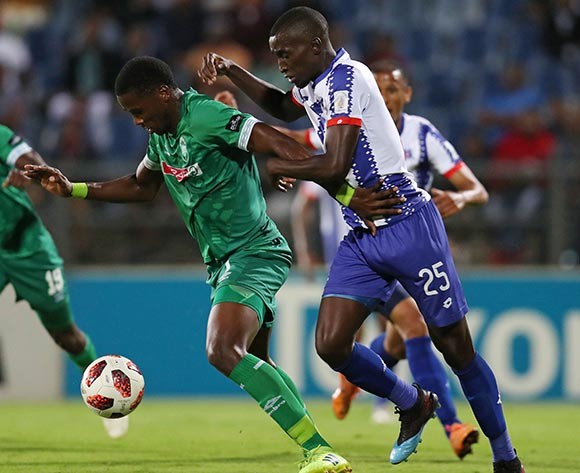 Bonginkosi Ntuli of AmaZulu challenged by Siyanda Xulu of Maritzburg United during the Absa Premiership 2018/19 match between Maritzburg United and AmaZulu at the Harry Gwala Stadium, Pietermaritzburg on the 01 March 2019 ©Muzi Ntombela/BackpagePix
