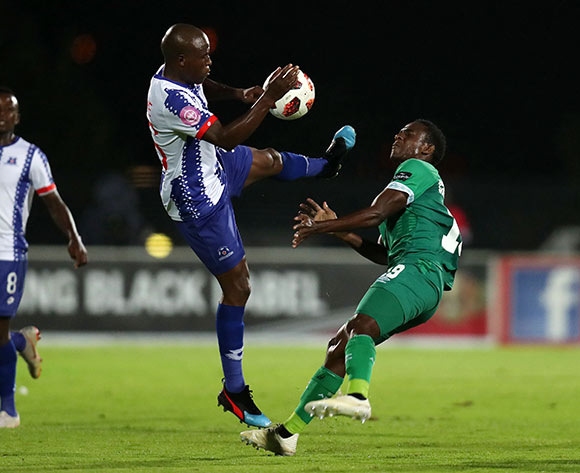 Talent Chawapihwa of AmaZulu challenged by Mxolisi Kunene of Maritzburg United during the Absa Premiership 2018/19 match between Maritzburg United and AmaZulu at the Harry Gwala Stadium, Pietermaritzburg on the 01 March 2019 ©Muzi Ntombela/BackpagePix
