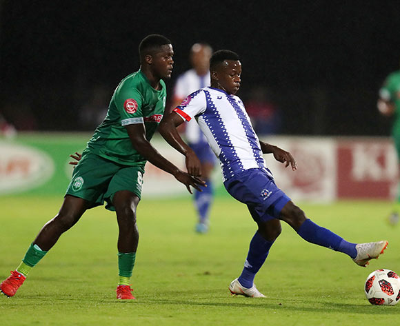 Siphesihle Ndlovu of Maritzburg United challenged by Jabulani Ncobeni of AmaZulu during the Absa Premiership 2018/19 match between Maritzburg United and AmaZulu at the Harry Gwala Stadium, Pietermaritzburg on the 01 March 2019 ©Muzi Ntombela/BackpagePix