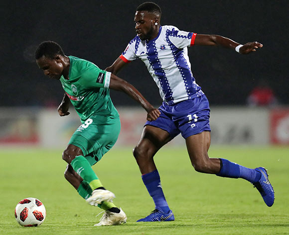 Talent Chawapihwa of AmaZulu challenged by Fortune Makaringe of Maritzburg United during the Absa Premiership 2018/19 match between Maritzburg United and AmaZulu at the Harry Gwala Stadium, Pietermaritzburg on the 01 March 2019 ©Muzi Ntombela/BackpagePix
