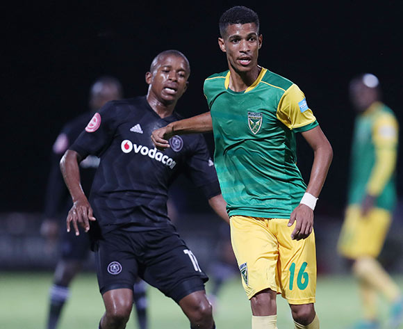Seth Parusnath of Golden Arrows challenged by Luvuyo Memela of Orlando Pirates during the Absa Premiership 2018/19 match between Golden Arrows and Orlando Pirates at the Suger Ray Xulu Stadium, Clermont on the 02 March 2019 ©Muzi Ntombela/BackpagePix