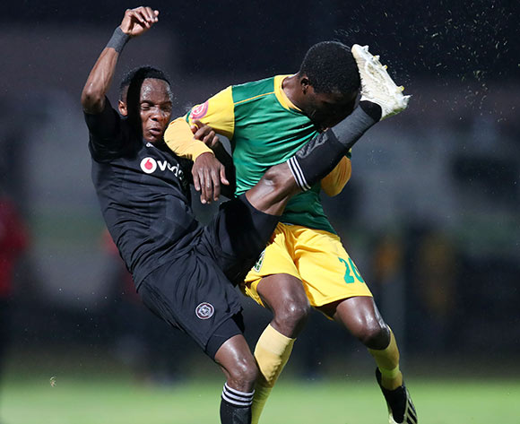 Kudakwashe Mahachi of Orlando Pirates challenged by Danny Phiri of Golden Arrows during the Absa Premiership 2018/19 match between Golden Arrows and Orlando Pirates at the Suger Ray Xulu Stadium, Clermont on the 02 March 2019 ©Muzi Ntombela/BackpagePix