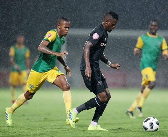 Innocent Maela of Orlando Pirates challenged by Sibusiso Sibeko of Golden Arrows during the Absa Premiership 2018/19 match between Golden Arrows and Orlando Pirates at the Suger Ray Xulu Stadium, Clermont on the 02 March 2019 ©Muzi Ntombela/BackpagePix
