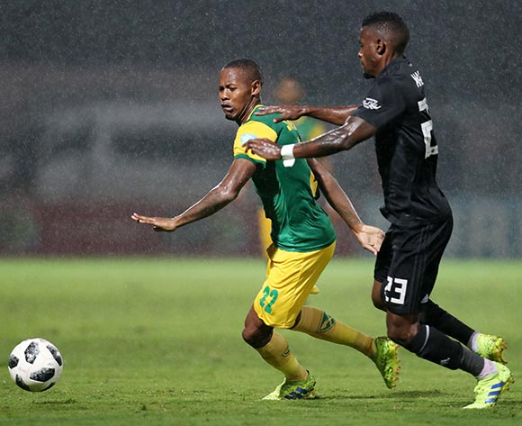 Sibusiso Sibeko of Golden Arrows challenged by Innocent Maela of Orlando Pirates during the Absa Premiership 2018/19 match between Golden Arrows and Orlando Pirates at the Suger Ray Xulu Stadium, Clermont on the 02 March 2019 ©Muzi Ntombela/BackpagePix