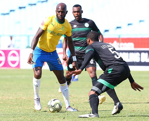 Anthony Laffor of Mamelodi Sundowns challenged by Wandisile Letlabika of Bloemfontein Celtic during the Absa Premiership 2018/19 match between Mamelodi Sundowns and Bloemfontein Celtic at Loftus Versfeld Stadium, Pretoria on 02 March 2019 ©Samuel Shivambu/BackpagePix