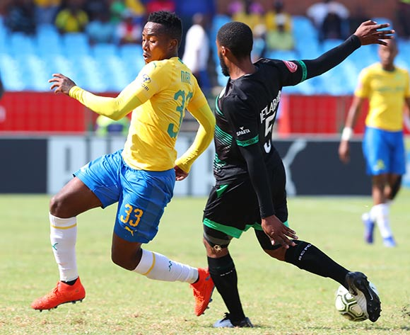 Lebohang Maboe of Mamelodi Sundowns challenged by Wandisile Letlabika of Bloemfontein Celtic during the Absa Premiership 2018/19 match between Mamelodi Sundowns and Bloemfontein Celtic at Loftus Versfeld Stadium, Pretoria on 02 March 2019 ©Samuel Shivambu/BackpagePix