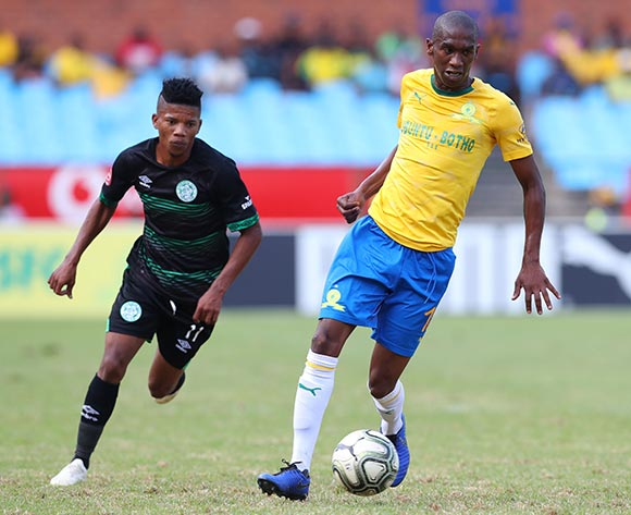 Anele Ngcongca of Mamelodi Sundowns challenged by Tebogo Potsane of Bloemfontein Celtic during the Absa Premiership 2018/19 match between Mamelodi Sundowns and Bloemfontein Celtic at Loftus Versfeld Stadium, Pretoria on 02 March 2019 ©Samuel Shivambu/BackpagePix