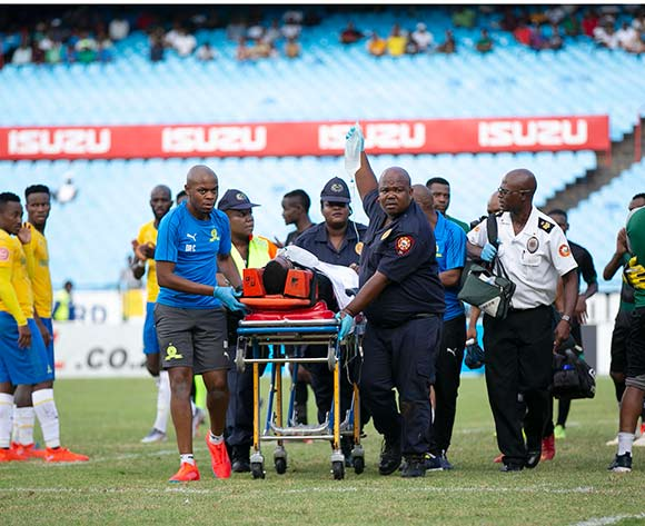 Wandisile Letlabika of Bloemfontein Celtic leaving the field injured during the Absa Premiership 2018/19 match between Mamelodi Sundowns and Bloemfontein Celtic at Loftus Versfeld Stadium, Pretoria on 02 March 2019 ©Samuel Shivambu/BackpagePix